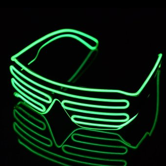 LED Glasses 3-Mode Sound Control Light Up El Wire Party Concert - Green Black Price Philippines