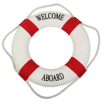 Harga leegoal Navy Nautical Welcome Aboard Decorative Cloth Life Ring Buoy Room Decor, White And Red - intl