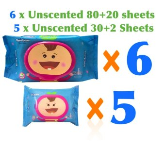 6 Packs of Uni-love 80+20sheet & 5 Packs of Uni-love 30+2sheets Unscented Baby Wipes Price Philippines