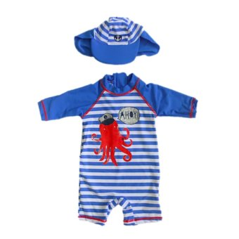 Little Rebel Longsleeves Rash Guard Swim Set with Sun Hat - Octopus Price Philippines