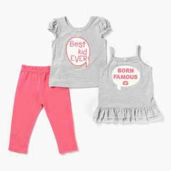Nap Girls Tank, Tee And Leggings Set (Gray) Price Philippines