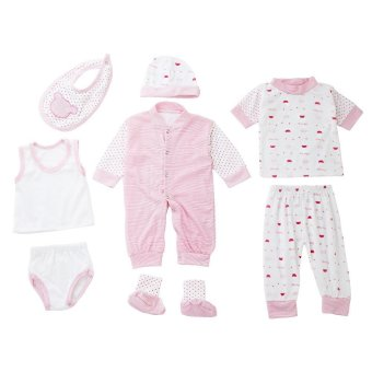 8pcs Newborn Babies Clothes Set Cotton Stripe Dot (Pink) Price Philippines
