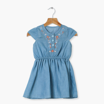 Crib Couture Girls Flowery Garter-Waist Chambray Dress (Blue) Price Philippines