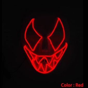 Frightening Luminous EL Wire Led Mask Halloween Light Up Cosplay Mask Costume Masks for Halloween (Red) Price Philippines