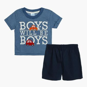 Harga Crib Couture Boys Boys Will Be Boys Tee and Shorts Set (Blue)