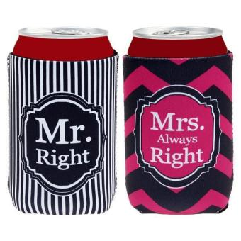 "MagiDeal ""Mr Right & Mrs Always Right"" Striped Beer Soda Can Cooler Sleeves Holders Price Philippines"