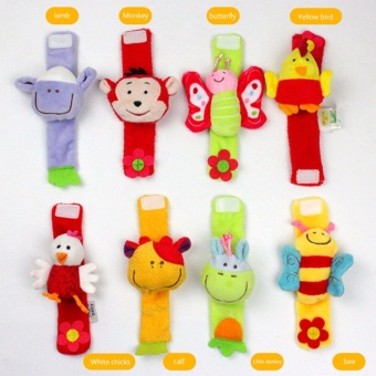 Infant Baby Cute Animal Wrist Foot Sock Rattles Soft Developmental Toys Finders - intl