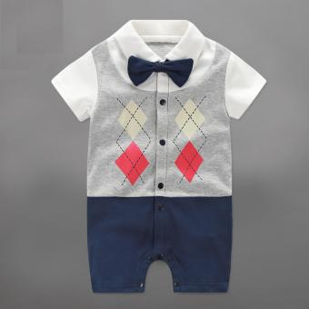 Infant Newborn Baby Boys Rompers Summer Geometric Style GentlemanBow One-piece Tie Boy Suits - intl Price Philippines