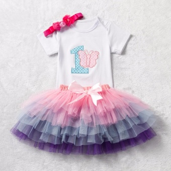 Infant Rompers Dress Lace Skirt for 1st Birthday Baby Girls Outfit Cute Headband Doll Dresses Summer Party Newborn Baby - intl
