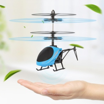 Infrared Induction Helicopter Mini Flying Toys,Blue - intl