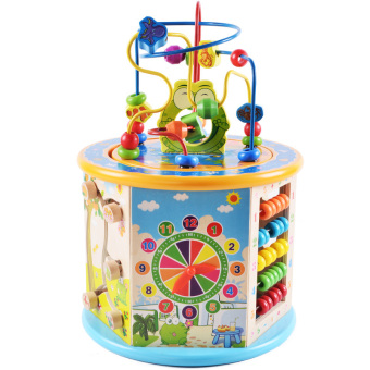 Intelligence wooden children's multi-functional big toys around the bead
