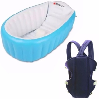 Intime Baby Bath Tub Portable Bathtub (Blue) With Adjustable Straps Baby Carriers (Color May Vary)