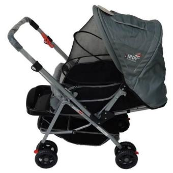 IRDY 829A 3- ways stroller w/ 8 wheels reversible handle w/mosquito net (grey) - 2