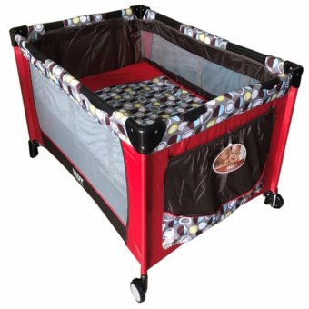 IRDY P508 Baby Crib Playpen w/ Mosquito Net (Red/Brown)