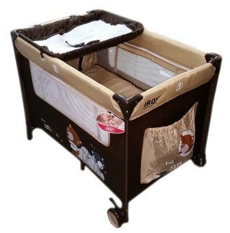 Irdy Portable Space Saver Crib Playpen (brown)