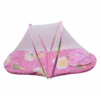 J&A Folding Newborn Baby Bed With Pillow Mat Net - Pink - 2