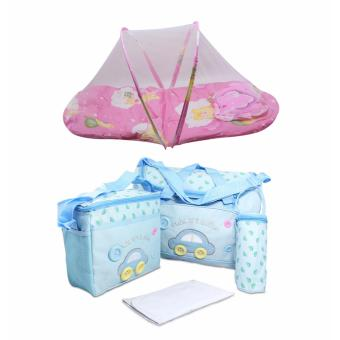 J&J 4-in-1 MUMMY Multi-Functional Baby Diaper Nappy Bag - LightBlue with Folding Newborn Baby Bed with Pillow Mat Net (Pink)