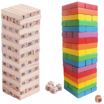 Jenga Wooden Block Stacking Game 54 pieces Numbers And Colors