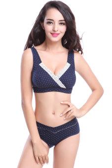 JF Pregnant Women Maternity Nursing Underwear Sets (Navy Polka Dot) - picture 2