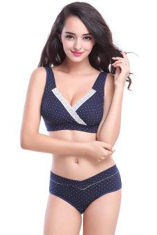 JF Pregnant Women Maternity Nursing Underwear Sets (Navy Polka Dot)