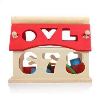 Kid Wooden Digital Number House Building Blocks EducationalIntellectual Toy - 5