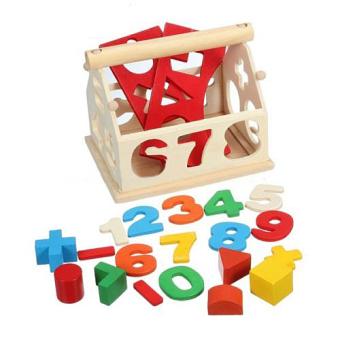 Kid Wooden Digital Number House Building Blocks EducationalIntellectual Toy - 4