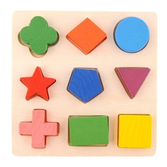 Kids Baby Children Geometry Shape Wooden Stacking Building Block Toy Early Learning Educational Brain Training Intellectual Play Jigsaw Puzzle