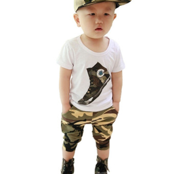 Kids Baby Toddler Boys Camouflage Short Sleeve T-shirt Top + Pants 2PC Clothes