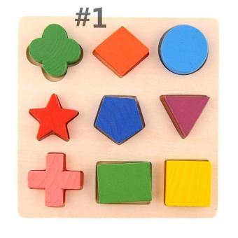 Kids Baby Wooden Learning Geometry Educational Toys Puzzle Montessori Early Learning (Color:#1) - intl