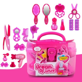 Kids Beauty Salon Toys Beauty Case with Hairdryer Comb PerfumeBottle Lipstick Girls Pretend Play Toys Set - intl Price Philippines