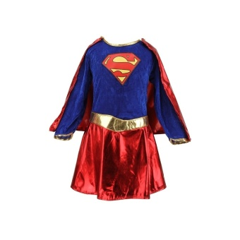 Kids Child Girls Costume Fancy Dress Superhero Supergirl Comic Book Party Outfit - Intl - 2