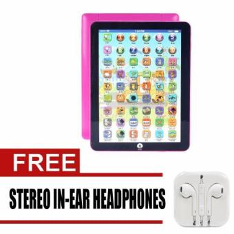 Kids Children English Learning Machine Ipad Toy EducationalComputer Big Tablet (Pink) with free Stereo In-Ear Headphone(White)