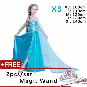 Kids Cosplay Castillo Elsa Dress Custom Made Movie Princess girls Frozen Costumes ( XS : 100 cm Height )