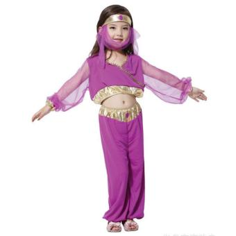 Kids Costume Halloween Christmas Costume Princess Jasmine Gypsy Costume India Belly Dancing Costume Birthday Children Cosplay Party Photography Outfit 3-4 Yrs