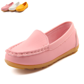 Kids Faux Leather Solid Color Gommino Shoes