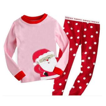 Kids Girl Long Sleeve Pajamas Sleepwear Suit Santa Claus 2pcs Set -intl