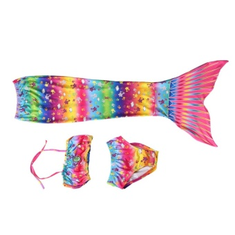 Kids Girls Swimsuit Bikini Set with Mermaids Tail Sea-maid SwimmingCostumes (110) - intl - 4