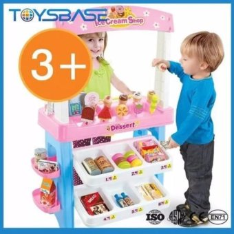 Kids pretend play supermarket Desserts ice cream shop toy(Pink)
