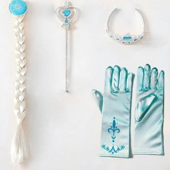 Kids Princess 4Pcs/set Elsa Anna Cosplay Frozen Magic Wand Dress Costume - intl