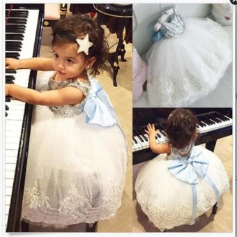 kids Sleeveless Summer Princess Baby Girls Clothes Infant Party Dress Birthday Frock Newborn Toddler Girl Gown Bowknot Lace - intl