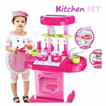 Kitchen Cooking Toy Play set with Lights & Sounds (Pink)