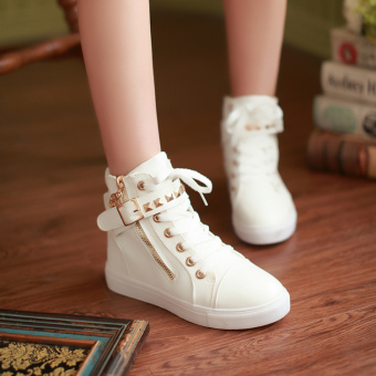 Korean-style female big kid shoes hight-top plain weave shoes