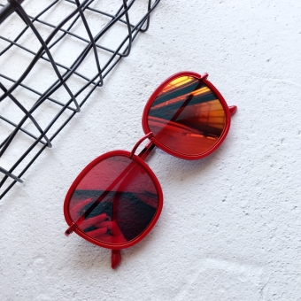 Korean-style red female round UV sunglasses sun glasses