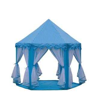 Large Indoor and Outdoor Kids Play House Hexagon Princess Castle Kids Play Tent Child Play Tent-light blue