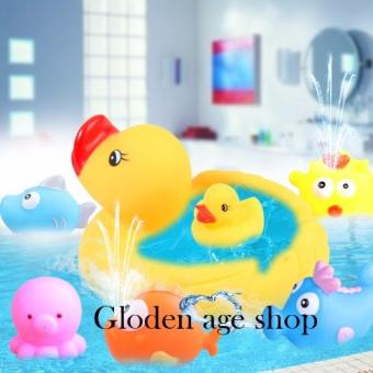 lazada and USA best selling 4 Pcs Baby Bathing Developmental ToysWater Floating Squeaky Rubber Ducks Price Philippines