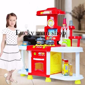 lazada and USA best selling Big size Kids Children Babies Kitchen Cooking Toy Play Set with Light and Sound Educational Learning Toy Red - 2