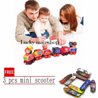lazada and USA best selling Magnetic Van for Carrying People Kids Wooden Train Toy 6pcs set with free 3 pcs mini scooter