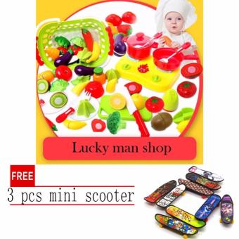 lazada and USA best selling With basket 20 Pcs/set Plastic Fruit Vegetable Kitchen Cutting Toy Early Development and Education Toys for Baby Kids Children with free 3 pcs mini scooter