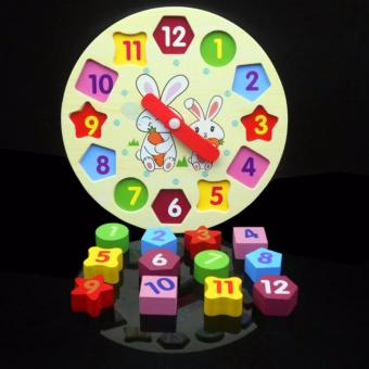 lazada and USA best selling Wooden Rabbit Clock with GeometricShapes Puzzle - 3