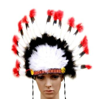 leegoal Indian Feathers Headdress Native American Chief Head DressFor Adult And Kids Halloween Costumes Party, Black+White+Red23x14inch - intl - 3